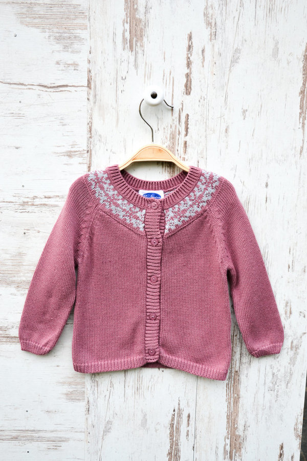 Norweger Strickjacke - Rosa/Hellgrau